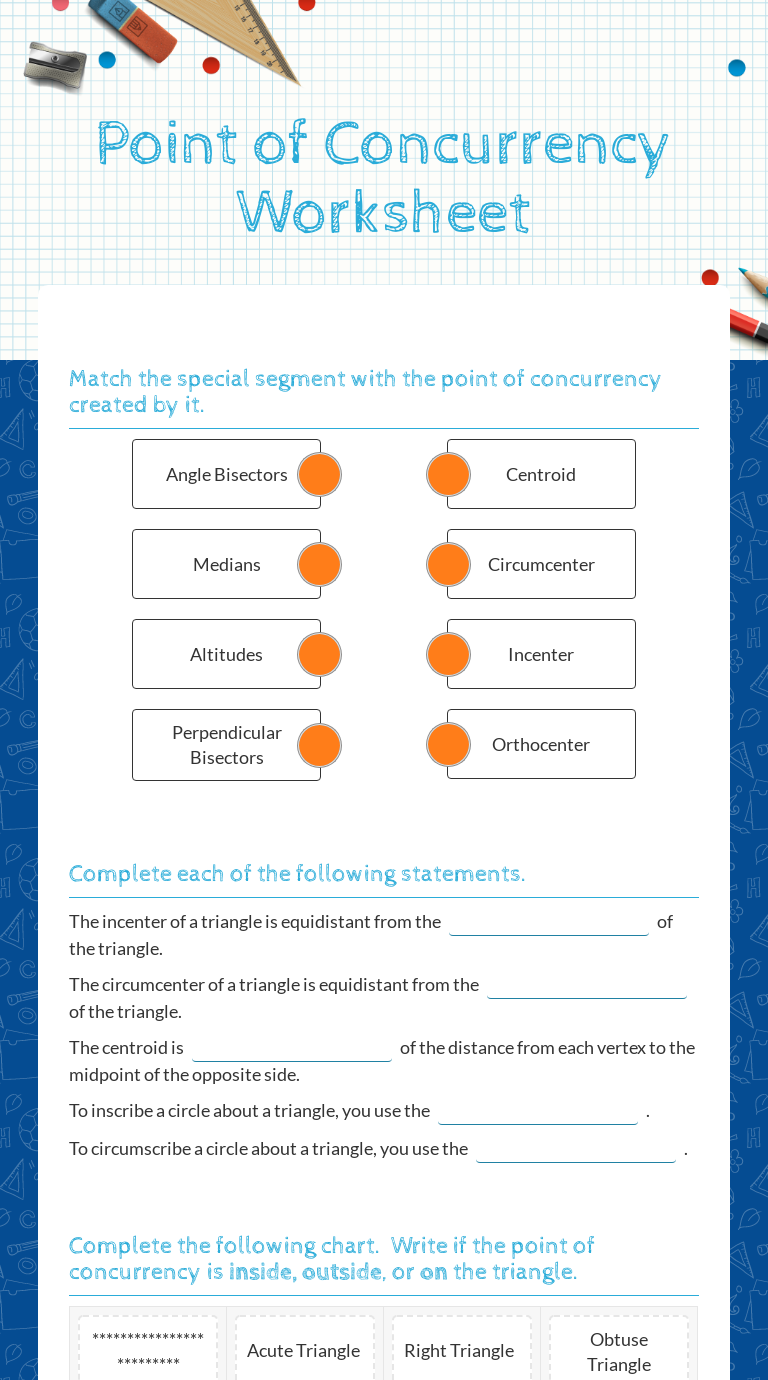 Point of Concurrency Worksheet  Interactive Worksheet by Jennifer Regarding Points Of Concurrency Worksheet Answers