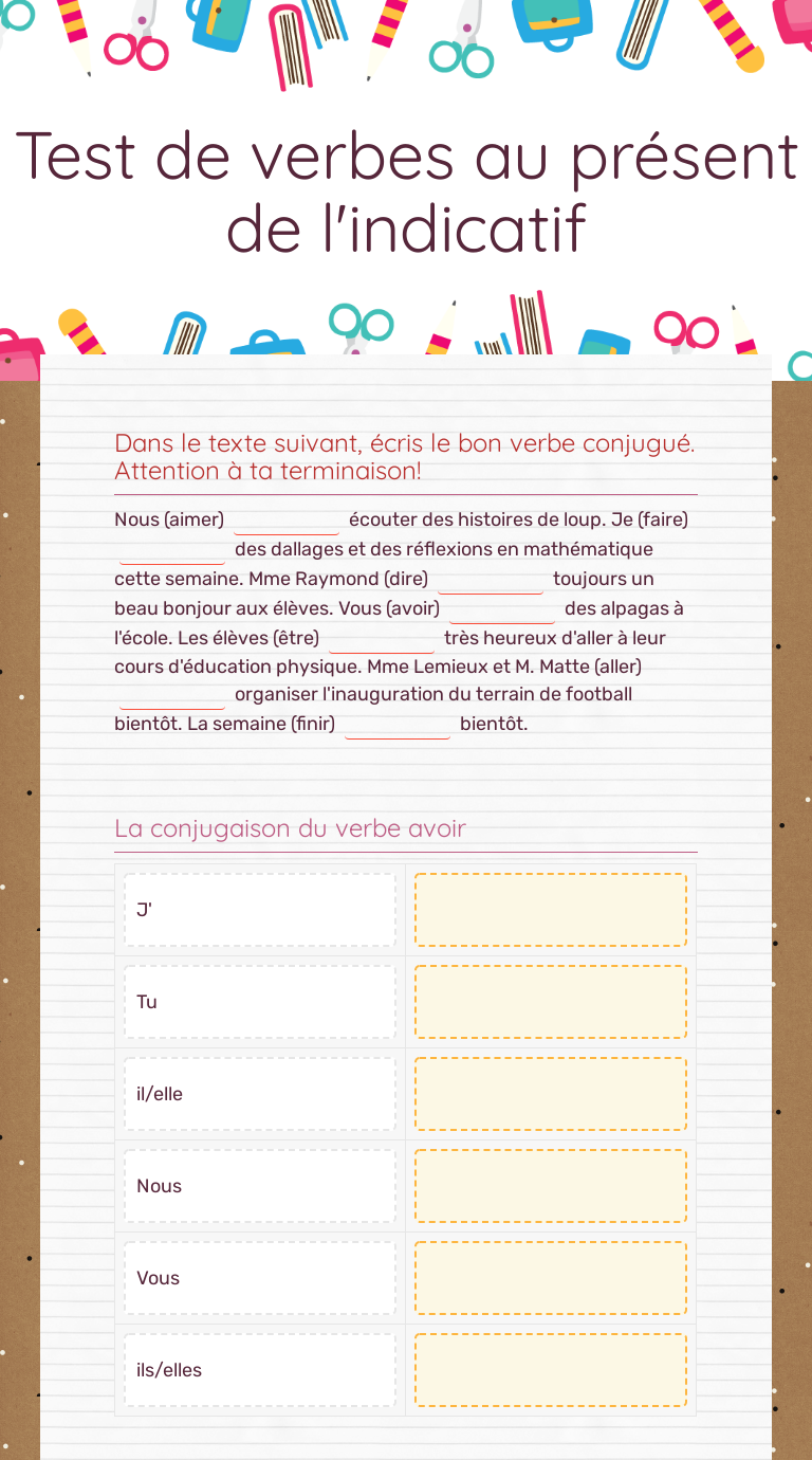 Test De Verbes Au Present De L Indicatif Interactive Worksheet By Julie Raymond Wizer Me