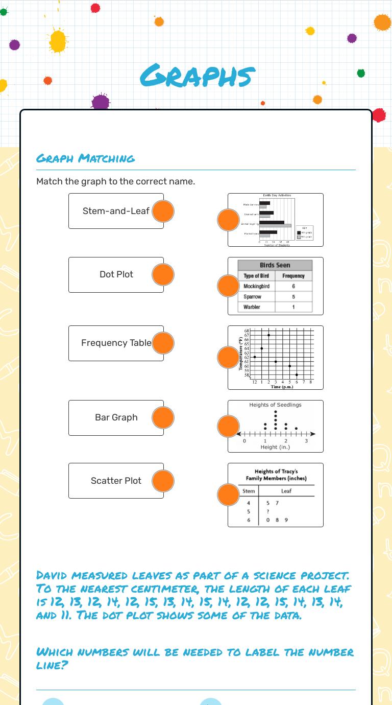Graphs  Interactive Worksheet by Sarah Pigman  Wizer.me Regarding Stem And Leaf Plots Worksheet