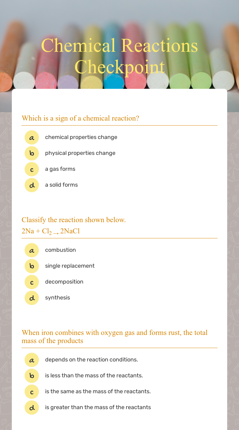 Unit a chemical changemr. standring