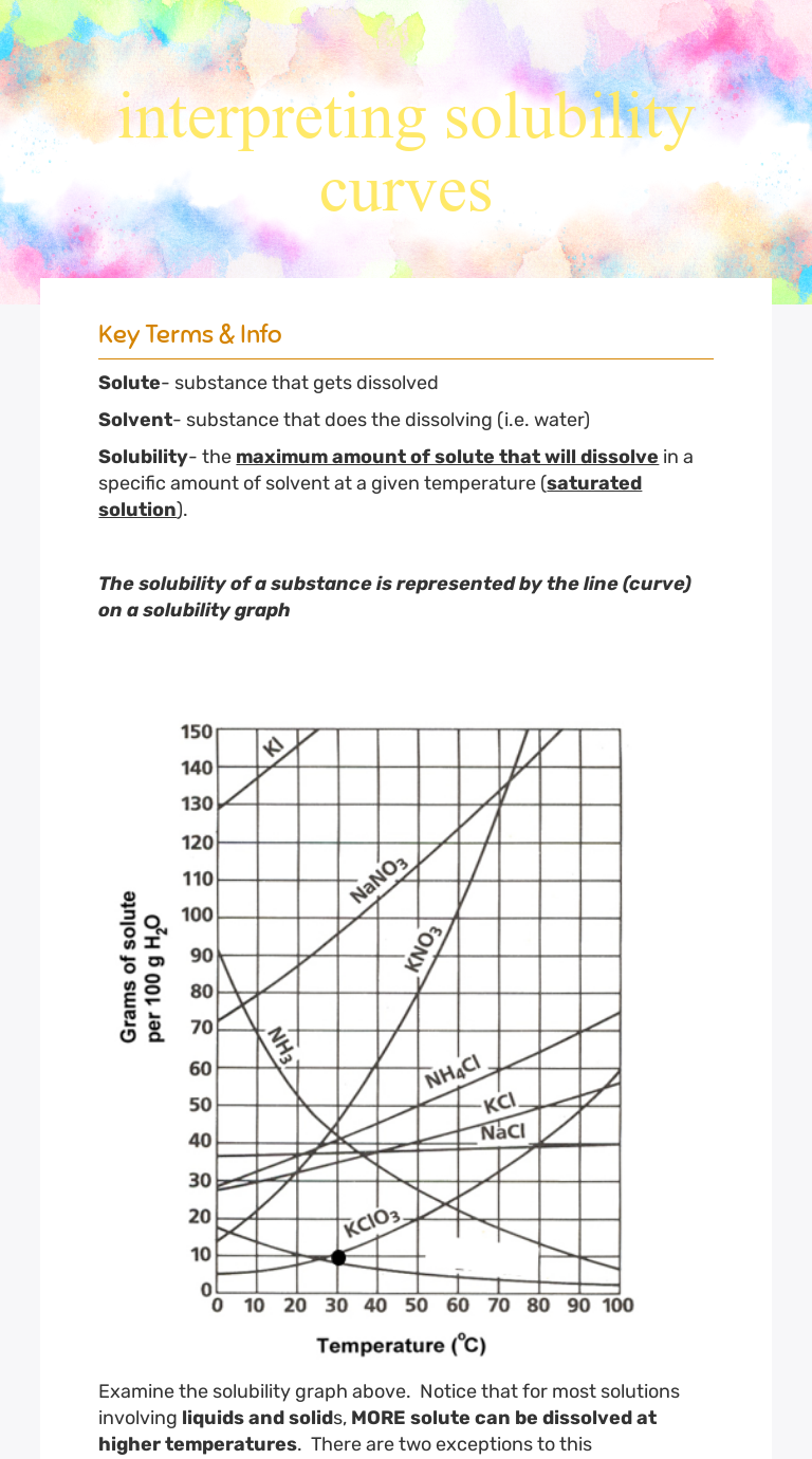 interpreting solubility curves | Interactive Worksheet by ...