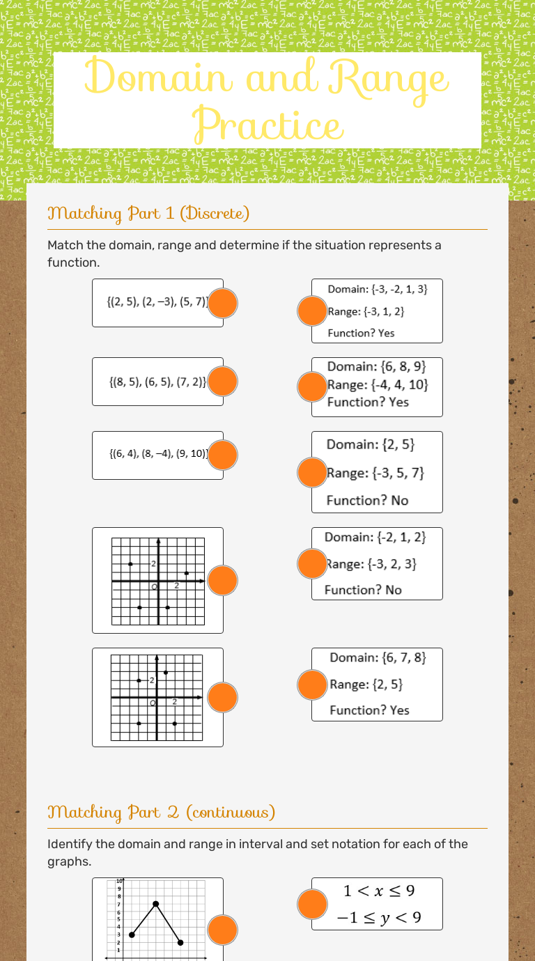 Domain and Range Practice   Interactive Worksheet by ...