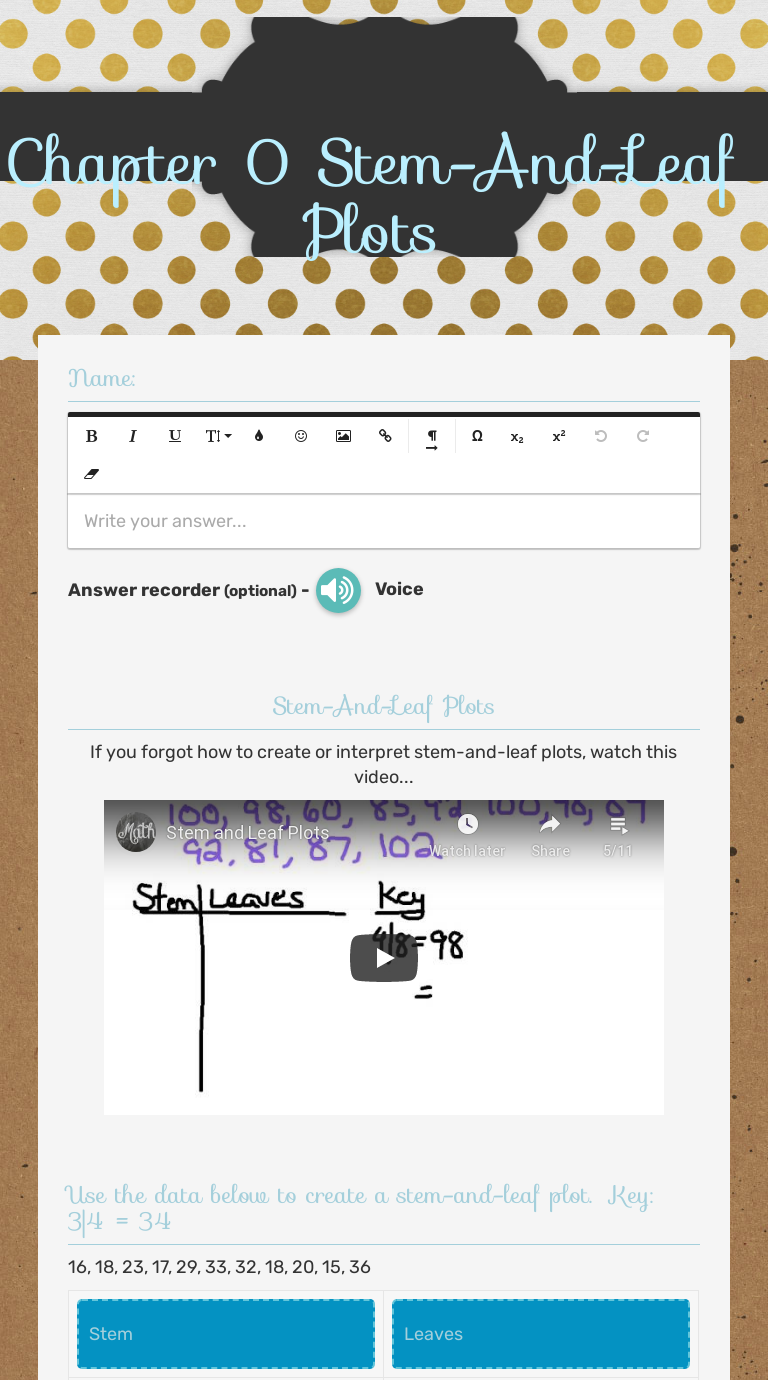 Chapter 24 Stem-And-Leaf Plots  Interactive Worksheet by Anna For Stem And Leaf Plots Worksheet