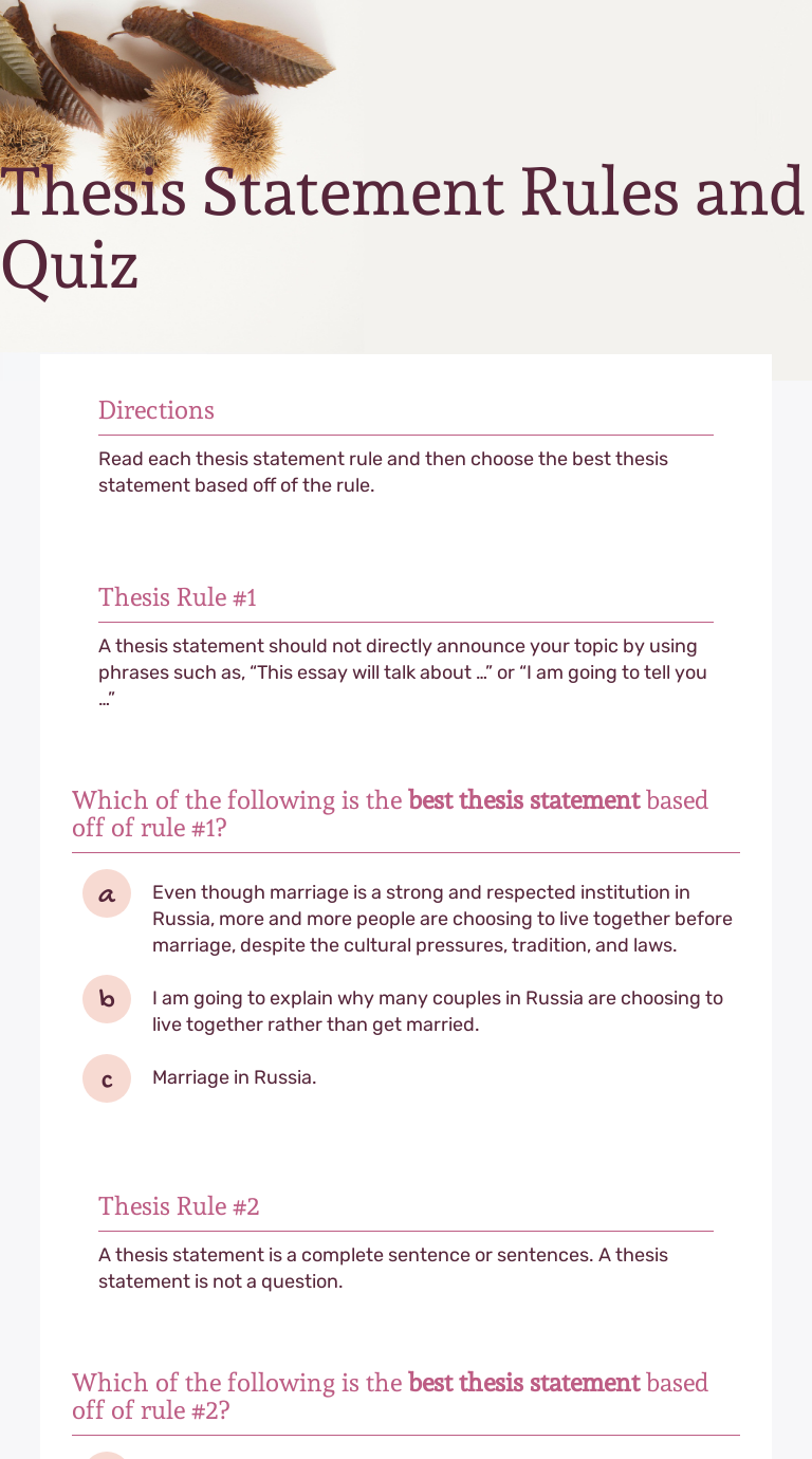 Thesis Statement Rules And Quiz Interactive Worksheet By Brittany Clark Slaughter Wizer Me I like to be alone, but sometimes i like to talk to. interactive worksheet by brittany clark