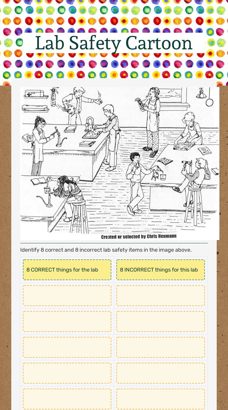 Lab Safety Cartoon Interactive Worksheet By Amy Kindred Wizer Me