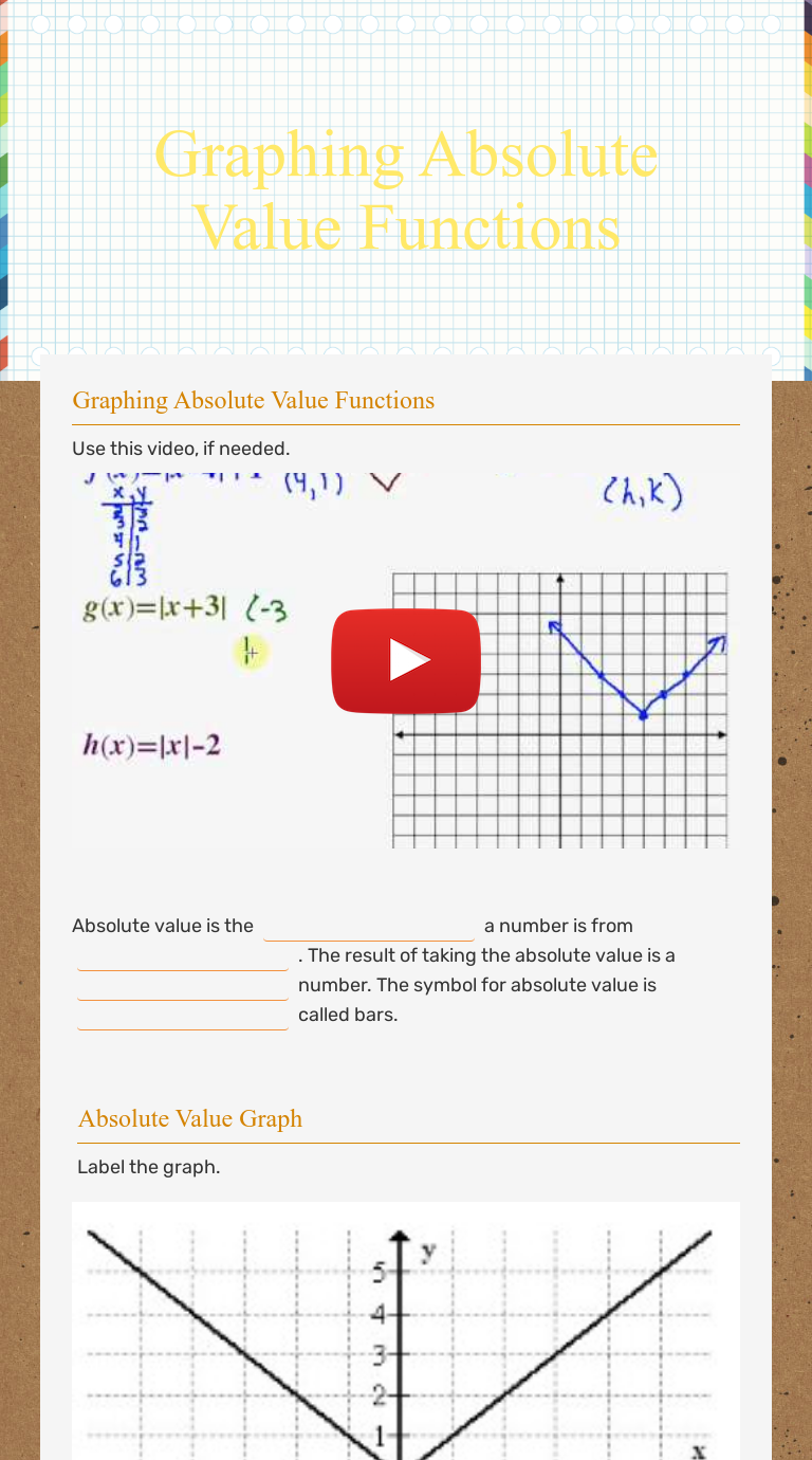 Graphing Absolute Value Functions  Interactive Worksheet by In Graphing Absolute Value Functions Worksheet