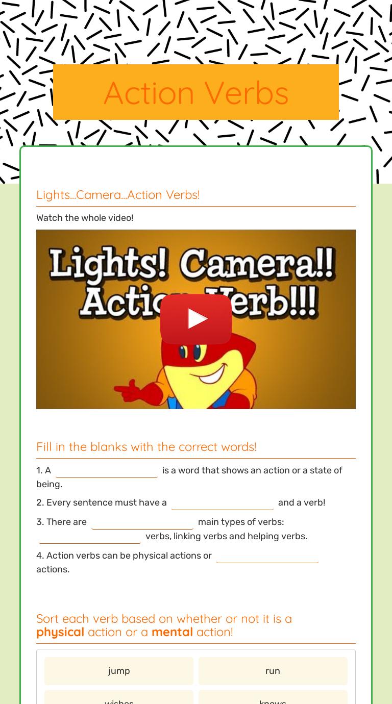 Action Verbs Interactive Worksheet By Danielle Creighton Wizer Me [ 1380 x 768 Pixel ]