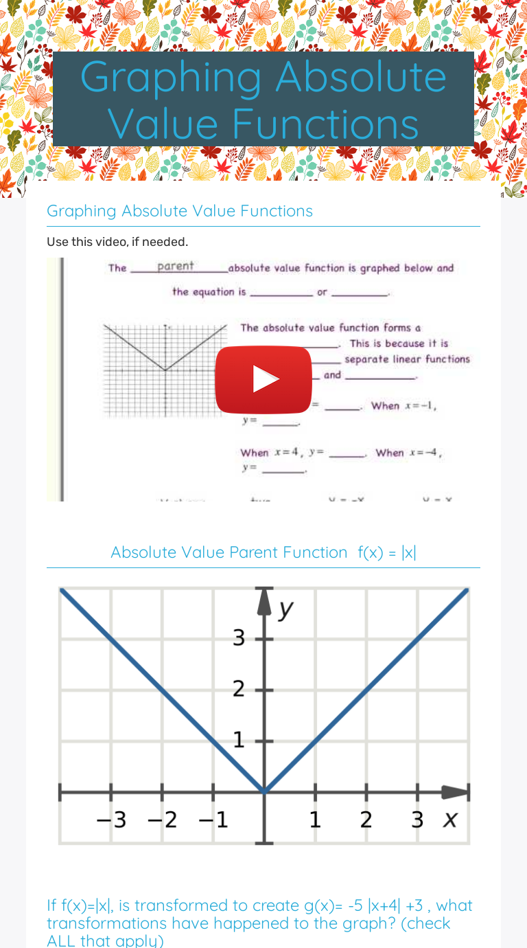 Graphing Absolute Value Functions  Interactive Worksheet by With Regard To Graphing Absolute Value Functions Worksheet