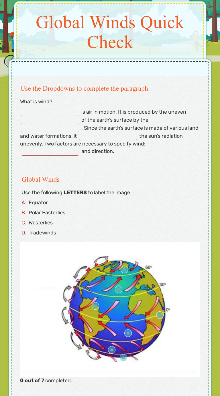 Global Winds Quick Check  Interactive Worksheet by Angela Meekey Regarding Global Wind Patterns Worksheet