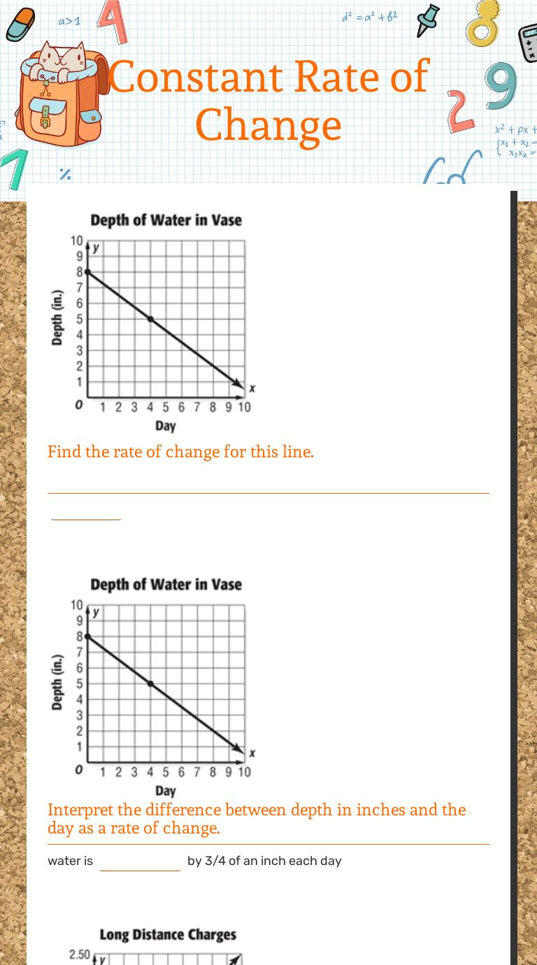 Constant Rate of Change  Interactive Worksheet by Jill Miesner Throughout Constant Rate Of Change Worksheet