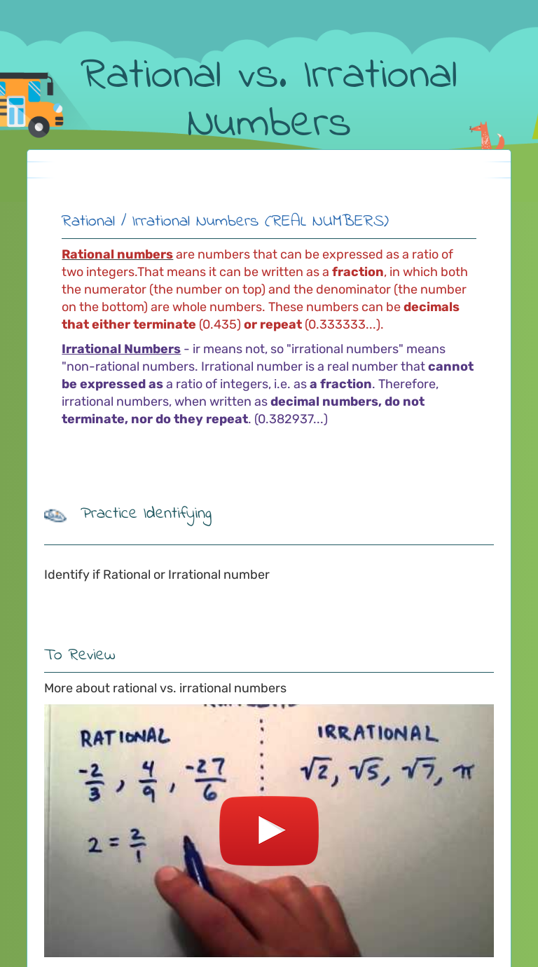 Rational vs. Irrational Numbers  Interactive Worksheet by Erica
