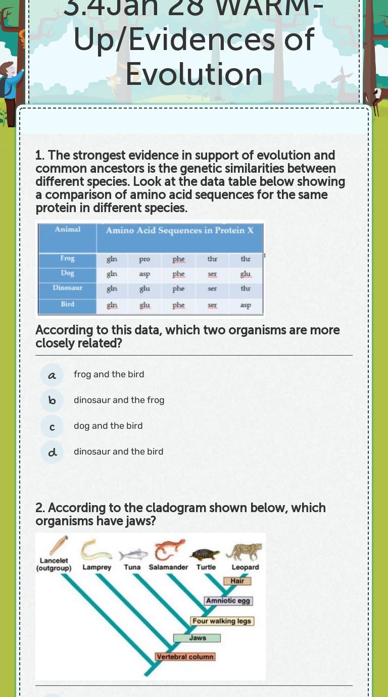 25.25Jan 25 WARM-Up/Evidences of Evolution  Interactive Worksheet In Evidence Of Evolution Worksheet